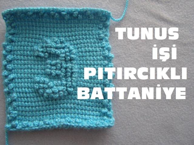 Tunus işi pıtırcıklı bebek battaniyesi yapılışı RAKAMLAR 3.NUMARA
