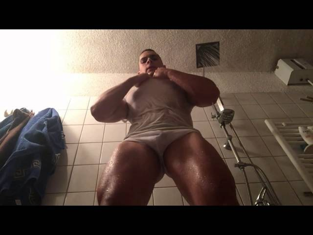 Teen Muscle God 19 yo Flexes Muscular Body In The Shower and Tears Off Wet White Shirt