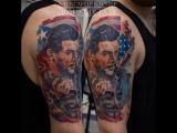 Татуировка в стиле реализм: Портрет Че Гевара и маска Гая Фокса  (realistic tattoo )   Дом Элит Тату (Tattoo Studio Moscow)