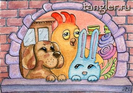 Мои сказочные герои: Пес, Петух и Заяц после обеденного чаепития