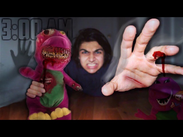 3 AM ONE MAN HIDE AND SEEK OVERNIGHT CHALLENGE WITH POSSESSED BARNEY DOLL IN A HAUNTED HOUSE!