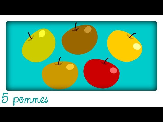 5 pommes dans mon panier ♫ Apprendre à compter en chantant Comptines maternelles pour bébé