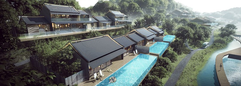 Aedas references traditional chinese architecture with plans for luxury resort and hotel