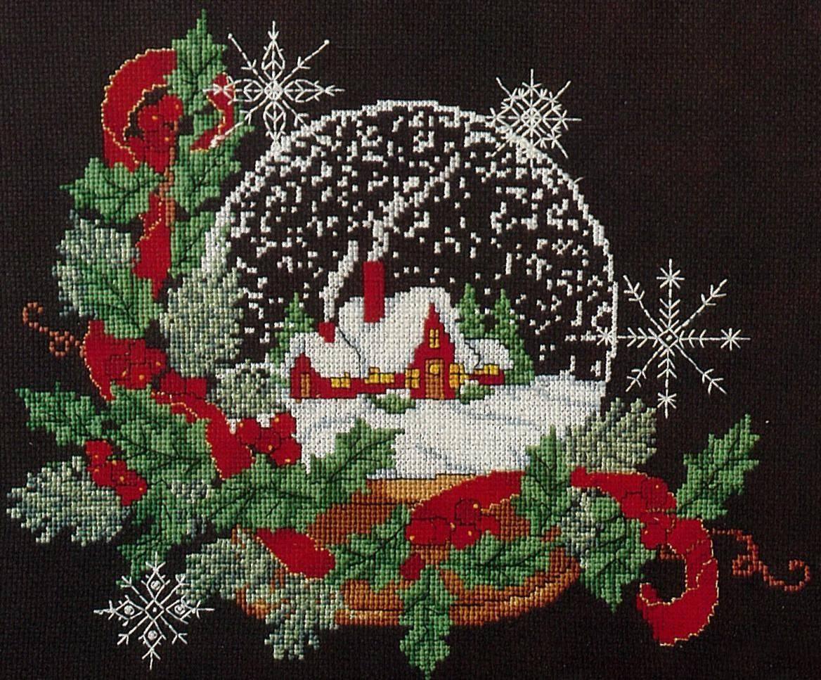 Вышивка на красной канве новогодняя