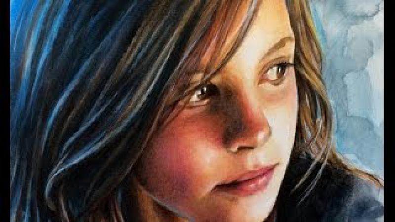 Watercolor Colored Pencils Portrait SPEED PAINTING by Ch. Karron