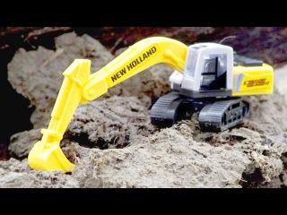 Bagger Kinderfilm deutsch - Der Gelbe Bagger und Straßenbau - Lernen und bauen - Cartoon für Kinder