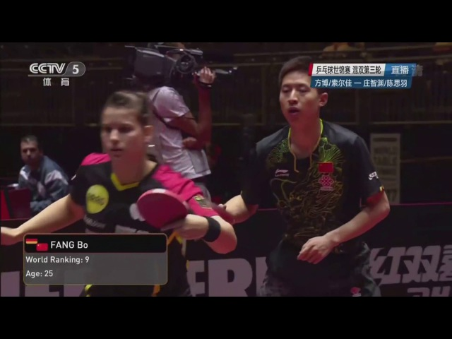 FANG Bo/SOLJA Petrissa VS CHUANG Chih-Yuan/CHEN Szu-Yu | MD | R16 | 2017 World Championships CCTV5