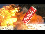 EXPERIMENT Big AXE vs COCA COLA - Damage Test in Slow Motion