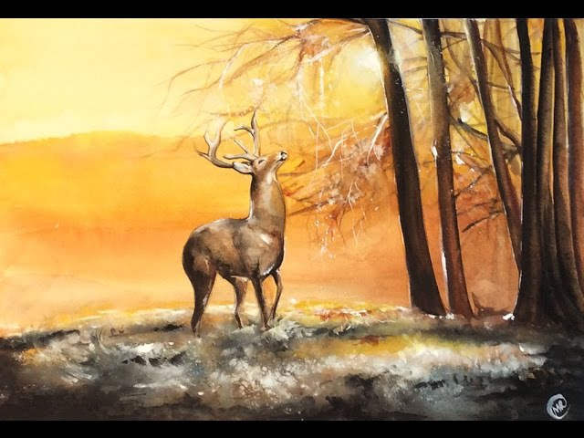 Watercolor Deer in a Fall Morning Painting Demonstration