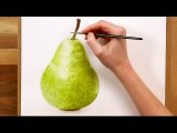 How to paint a realistic pear in watercolour (preview of a FREE class)