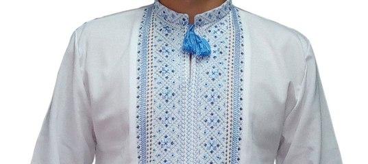 Вишиванка чоловіча синіми нитками на білому домотканому (Арт. 01678).  Карасива чоловіча вишита сорочка. 49b351363baa6