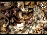 Ручная резьба по дереву Алиса в стане чудес - М. Байко