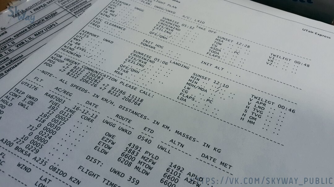 Расчет рабочего плана полета / (Flight plan).