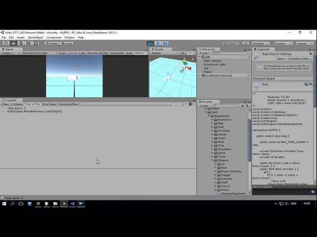 Unity3D Українською Моя RPG Сумка для предметів та її інтеграція з персонажем