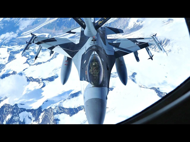 F-16 Aggressor In Cool New 'Splinter' Camouflage Refueling By KC-135 Over Alaska