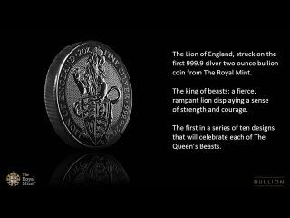 Серебряная монета Английский Лев и королева Елизавета