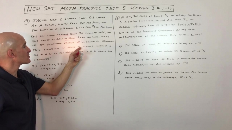 New SAT Math Practice Test 5 Section 3 1-10
