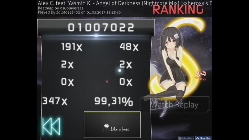 Osu! Alex C feat Yasmin K - Angel of Darkness (Nightcore Mix)
