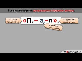 Видеоурок по русскому языку Предложения с прямой речью. Знаки препинания в них