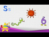 S is for Six, Snake, Sun - Letter S - Alphabet Song  Learning English for kids