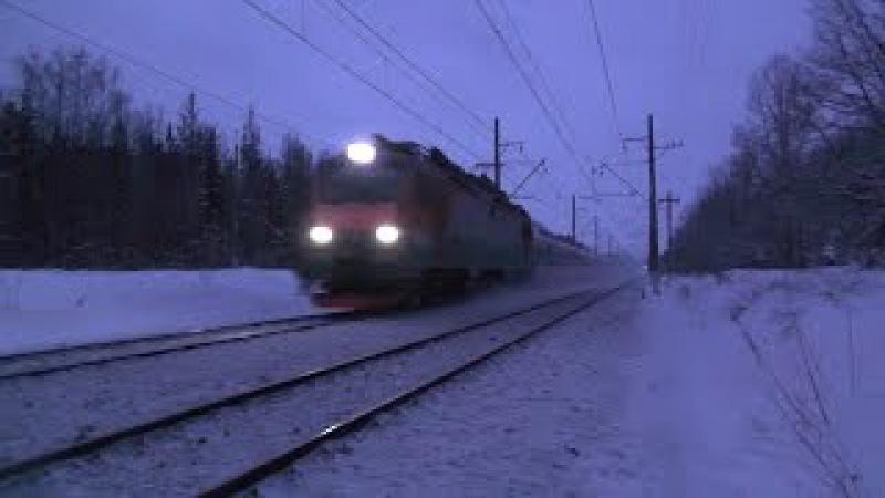 Электровоз ЭП20 004 с первым поездом Берлин Москва