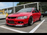 EXTREME LOUD Revs, flames and acceleration - Slammed Mitsubishi Evolution 9 from aaron_evoix