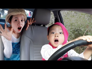 Masha DRIVES Spiderman's Car when Spiderman go to WC w/ Frozen Elsa, Joker