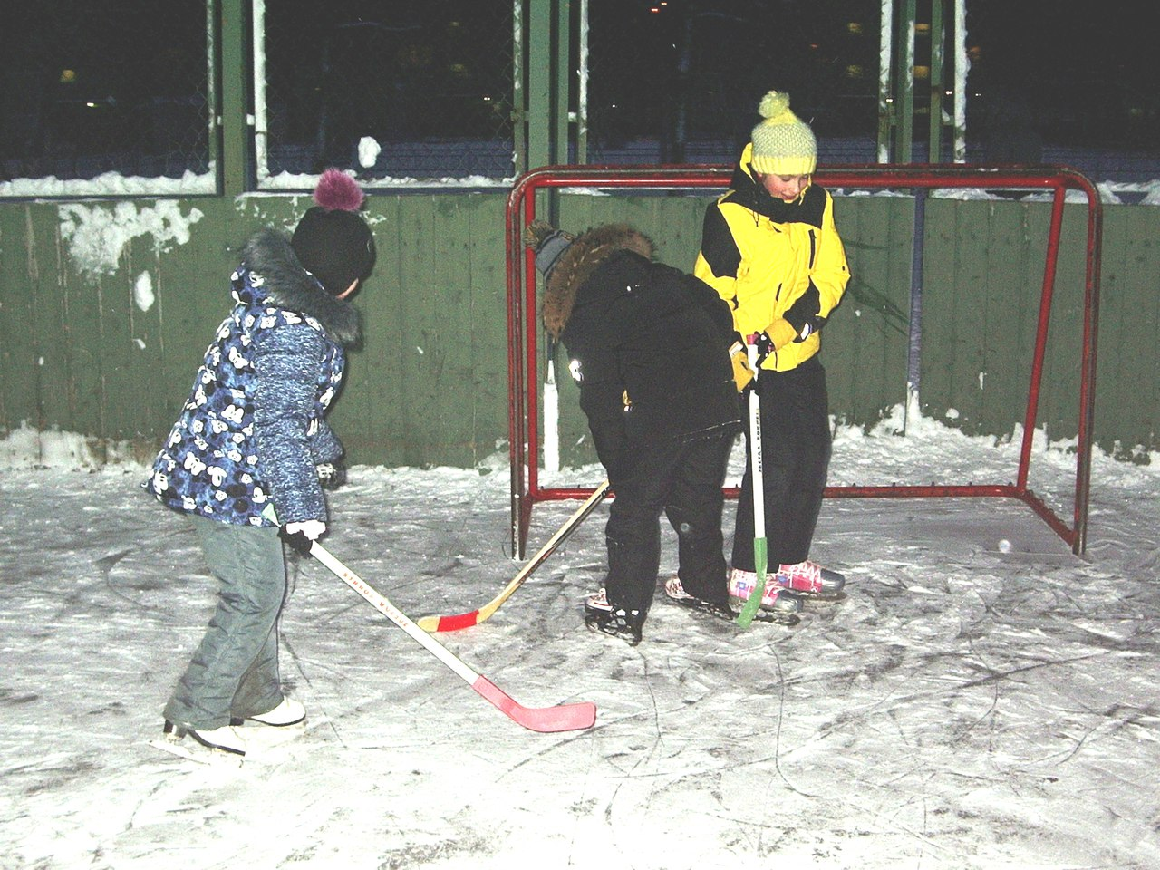Тренировка по хоккею с шайбой. Площадка на ул. Пражская д.20.