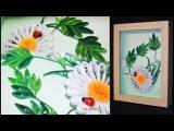Картина ромашка. МК квиллинг Tutorial Quilling chamomile panno flower.