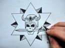 Как нарисовать Скелет- Звезду и Нож_Вор в законе Тату (Ehedov Elnur) Qanuni ogru tatusu Vosmi cekmek