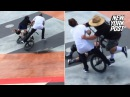 Man-bun vs. dad-socks in skate park rumble