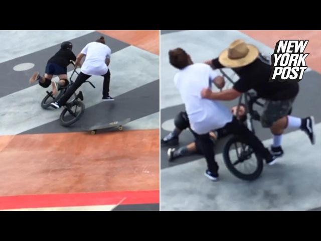 Man-bun vs. dad-socks in skate park rumble » Freewka.com - Смотреть онлайн в хорощем качестве