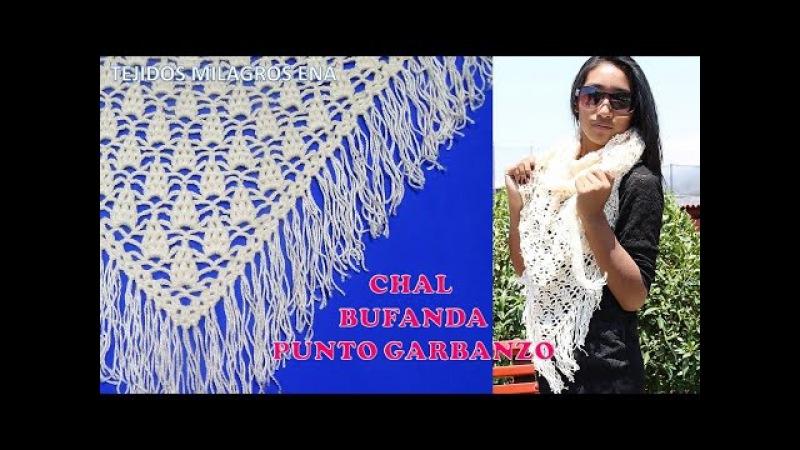 Chal Bufanda tejido a crochet o ganchillo en puntos garbanzos o punto puff paso a paso