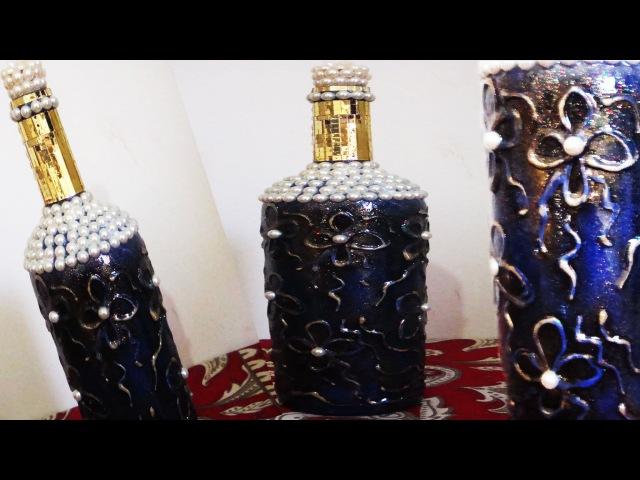 Garrafa decorada com textura e vitrificação (Passo a Passo)