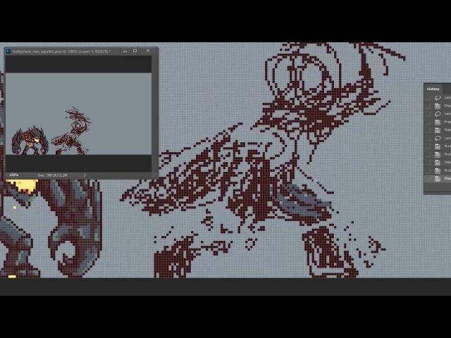 Planet Centauri - How to pixel art 5 : Lava Golem evolution Attack animation!