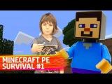 #TürkçeMinecraft Adrian ve Steve ile Minecraft Hayatta Kalma 1. Çocuk videoları Türkçe izle!