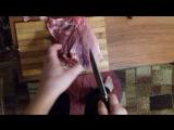 Рез мяса охотничьим ножом после испытаний на канате