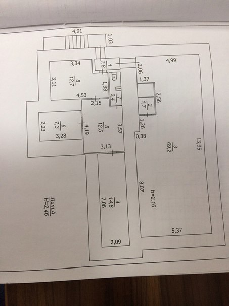 Приветствую жителей! Есть нежилое помещение 122.4 кв.м высота потолка