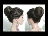 Bridal hairstyle for long hair tutorial. Wedding prom updo step by step