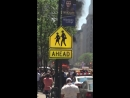 Yellow cab on fire in Midtown Manhattan