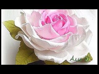 МК Простой способ изготовления розы из фоамирана с плоским основанием.