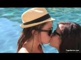 lesbian kissing in the pool