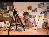 Создание картины в студии живописи