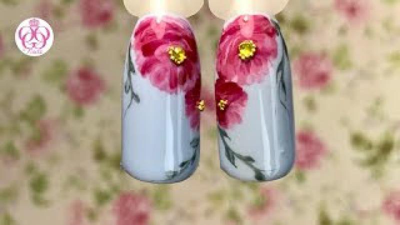 Экспресс дизайн ногтей ПИОНЫ гель лаками💜БЛЮСКАЙ без ПОДДЕЛОК💜новая пинейка
