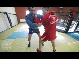Комбинация из боевого самбо - удар головой в захвате с переходом на бросок через спину с колена