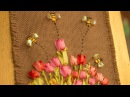 APRENDE PASO A PASO A BORDAR TULIPANES Y ABEJAS CON CINTAS / Tulips and bees embroidered on a frame