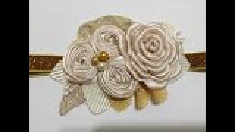 Tiara beige-dorado de flores VIDEO No. 447 creacionesrosaisela