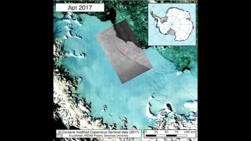 АНТАРКТИДА....ледник Ларсена с рифт анимацией, используется Sentinel1 Инсар чтобы проиллюстрировать,.. последнее время рифт скач