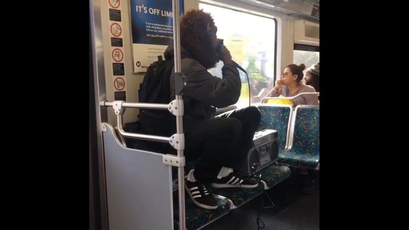 Koreatown Oddity @ktownodd impromptu show on LA Metro today. Video by passenger @k_o.brand_kickasso