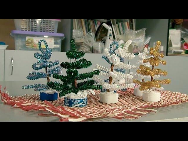 Новогодняя ёлочка из бисера и пайеток